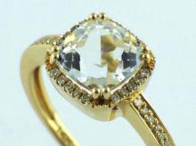 14K Yellow Gold 2.03ct Cushion White Topaz & Diamond Halo Ring - Size 7