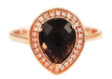 14K Rose Gold with Pear Smoky Quartz & Diamonds Halo Ring - Size 6.5