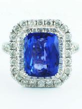 3.77ct Cushion Tanzanite with Diamond 14K White Gold Halo Engagement Ring - 6.5