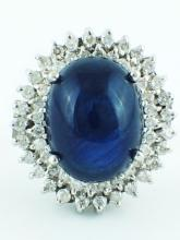 14K White Gold 19.06ct Cabochon Sapphire & 1.00ct Diamond Cocktail Ring - Size 7