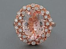 4.46ct Oval Morganite with 0.55ct Diamond in 14K Rose Gold Anniversary Ring - 7