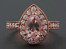 1.58ct Pear Morganite & Diamond 14K Rose Gold Wedding Anniversary Ring - Size 7
