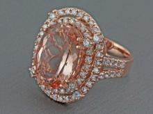 11.09ct Oval Morganite with 1.77ct Diamond in 14K Rose Gold Cocktail Ring - 7