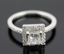 1.20 ctw Diamond Engagement  Ring 14K White Gold F-G,  I1-I2,  4.2 tgw|**Size:7