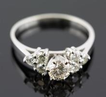 1.01 ctw Diamond Engagement  Ring 14K White Gold I-J,  VS1  2.7 tgw|**Size:6.5