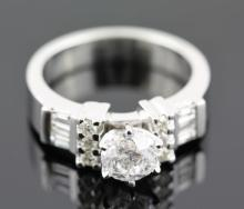 1.25ctw Diamond Engagement  Ring 14KWhite Gold F-GI1-I26.4 tgw|**Size:6