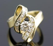 1.0 ctw Diamond Engagement  Ring 14K Yellow Gold H-I, SI3  5.3 tgw |**Size:6.5