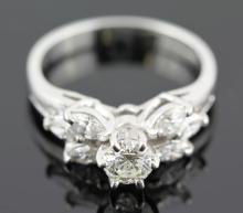 1.05 ctw Diamond Engagement  Ring 14K White Gold G-H, SI2,  4.1 tgw|**Size:6.5