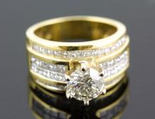 4.77 ctw Diamond Engagement  Ring 18K Yellow Gold I-J,  I1,  11.9 tgw|**Size:7
