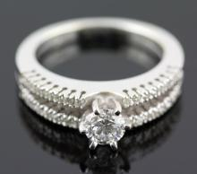 1.44 ctw Diamond Engagement  Ring 14K White Gold G-H,  SI3  6.09 tgw |**Size:6