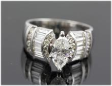 2.05 ctw Diamond Engagement  Ring 14K White Gold G-H,  I1,  7.1 tgw |**Size:7