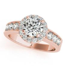 1.85 CTW Certified Diamond Bridal Solitaire Halo Ring 14K Rose Gold - 24912-REF#292N8F