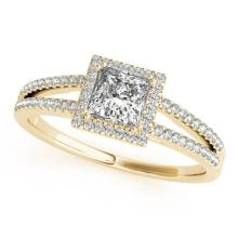 0.85 CTW Certified Princess Diamond Bridal Solitaire Halo Ring 14K Yellow Gold - 24997-REF#102H8W
