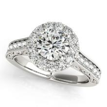 2.22 CTW Certified Diamond Bridal Solitaire Halo Ring 14K White Gold - 24363-REF#465Z3T