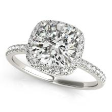 1.33 CTW Certified Cushion Diamond Bridal Solitaire Halo Ring 14K White Gold - 25058-REF#307K6R