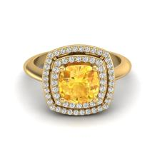 1.50 CTW Citrine & Micro Diamond Certified Pave Halo Ring 18K Yellow Gold - 20758-REF#62A8V