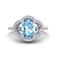 2 CTW Topaz & Micro Pave Diamond Certified Ring 10K White Gold - 20976-REF#30H2W