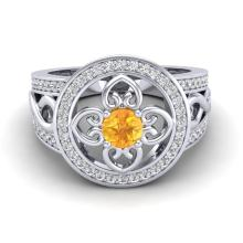1 CTW Diamond Certified & Citrine Micro Pave Designer Ring 18K White Gold - 20847-REF#79Z2T