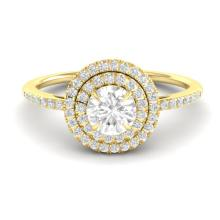 1 CTW Micro Pave Diamond Solitaire Bridal Ring Double Halo 18K Yellow Gold - 21615-REF#89H9W