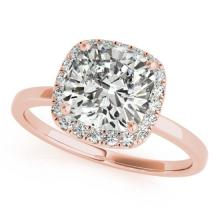 1.15 CTW Certified Cushion Diamond Bridal Solitaire Halo Ring 14K Rose Gold - 25068-REF#299G9M