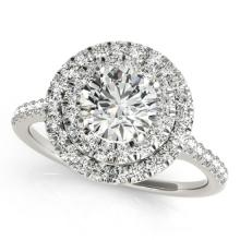 1.25 CTW Certified Diamond Bridal Solitaire Halo Ring 14K White Gold - 24068-REF#154M3G