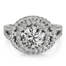 1.75 CTW Certified Diamond Bridal Solitaire Halo Ring 14K White Gold - 24773-REF#297X3Y