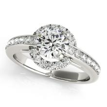1.25 CTW Certified Diamond Bridal Solitaire Halo Ring 14K White Gold - 24539-REF#156X8Y