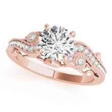 1 CTW Certified Diamond Solitaire Bridal Antique Ring 14K Rose Gold - 25257-REF#141F8N