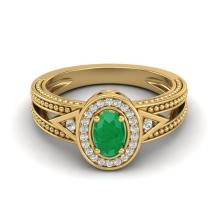0.83 CTW Emerald & Diamond Solitaire Halo Fashion Ring 10K Yellow Gold - 20837-REF#23Y8X