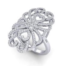 2.25 CTW Micro Pave Diamond Certified Designer Inspired Ring 18K White Gold - 20887-REF#153M4G