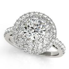 1.50 CTW Certified Diamond Bridal Solitaire Halo Ring 14K White Gold - 24339-REF#129Y6X
