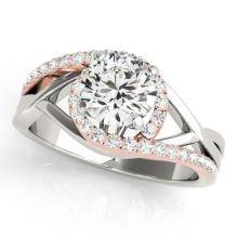 1.55 CTW Certified Diamond Bypass Solitaire Ring 14K White & Rose Gold - 25540-REF#361H6W