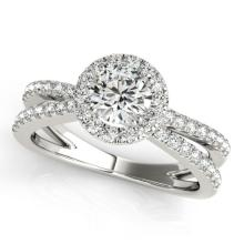 1.36 CTW Certified Diamond Bridal Solitaire Halo Ring 14K White Gold - 24468-REF#161Y8X