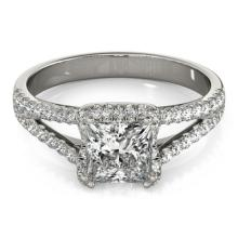 2.05 CTW Certified Princess Diamond Bridal Solitaire Halo Ring 14K White Gold - 24956-REF#509V3A