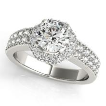 0.90 CTW Certified Diamond Bridal Solitaire Halo Ring 14K White Gold - 24917-REF#101G9M