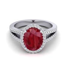3 CTW Ruby & Micro Pave Diamond Halo Solitaire Bridal Ring 18K White Gold - 20947-REF#55M8G