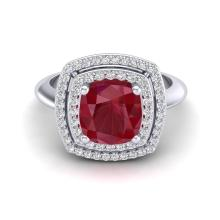 1.50 CTW Ruby & Micro Diamond Certified Pave Halo Ring 18K White Gold - 20766-REF#62Z8T