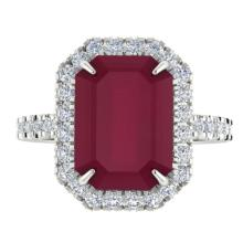 5.33 CTW Ruby And Micro Pave Diamond Certified Halo Ring 18K White Gold - 21432-REF#62K2R