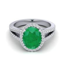 3 CTW Emerald & Micro Diamond Halo Solitaire Bridal Ring 18K White Gold - 20938-REF#57W8H