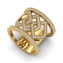 Genuine 0.90 CTW Ring Micro Pave Diamond Certified Designer Modern 14K Gold - 20881-REF#79G4N