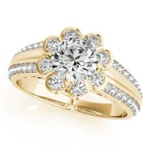 Genuine 1.50 CTW Certified Diamond Bridal Solitaire Halo Ring 14K Gold - 24883-REF#303N3F