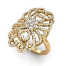 Natural 2.25 CTW Micro Pave Diamond Certified Designer Inspired Ring 18K Gold - 20888-REF#168G7N