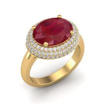 Genuine 4.50 CTW Ruby & Micro Pave Diamond Certified Ring 18K Gold - 20923-REF#109Z7T