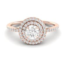 Genuine 1.0 CTW Micro Pave Diamond Solitaire Bridal Ring Double Halo 14K Gold - 21613-REF#93K4W