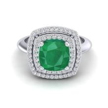 Genuine 1.50 CTW Emerald & Micro Pave Diamond Certified Pave Halo Ring 18K Gold - 20759-REF#69A2X