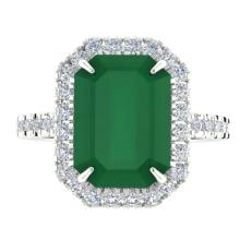 Genuine 5.33 CTW Emerald And Micro Pave Diamond Certified Halo Ring 18K Gold - 21425-REF#68G4N