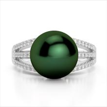 Natural 0.30 CTW Micro Pave Diamond Certified & Peacock Pearl Ring 18K Gold - 22628-REF#50N3F