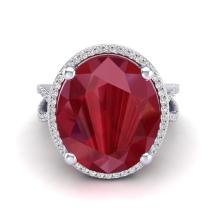 Genuine 12 CTW Ruby & Micro Pave Diamond Certified Halo Ring 18K Gold - 20965-REF#104X8Y