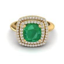 1.50 CTW Emerald & Micro Diamond Certified Pave Halo Ring 18K Yellow Gold - 20760-REF#62G8M