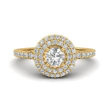 Natural 0.70 CTW Micro Pave Diamond Certified Designer Ring 18Kdouble Halo Gold - 20900-REF#73H5M